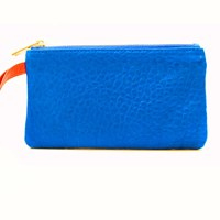 Freay Leather Rectangle Wristlet Pouch Blue