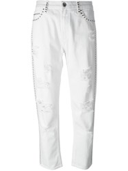Twin Set Studded Cropped Jeans White
