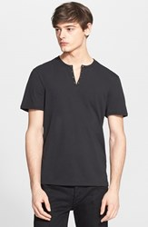 John Varvatos Men's Star Usa Short Sleeve Eyelet Henley Black