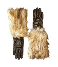 Kate Spade Faux Fox Fur Leather Glove Black Extreme Cold Weather Gloves