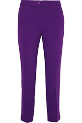 Etro Capri Cropped Crepe Slim Leg Pants Purple