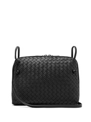 Bottega Veneta Nodini Intrecciato Leather Cross Body Bag Black