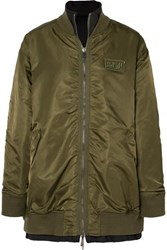 Sjyp Reversible Shell And Neoprene Bomber Jacket Green