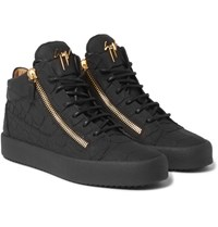 Giuseppe Zanotti Rubberised Croc Effect Leather High Top Sneakers Black