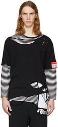 Miharayasuhiro Black And White Striped Damaged Layer T Shirt