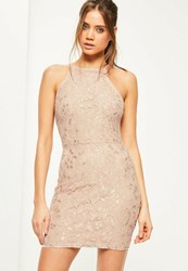 Missguided Nude Lace Square Neck Bodycon Dress Taupe