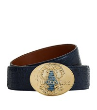 Billionaire Embossed Buckle Caiman Belt Unisex Blue