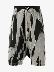 Rick Owens Dropped Crotch Bleached Denim Shorts Black White Denim Beige