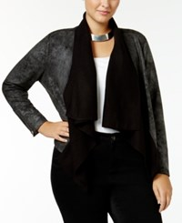 Jessica Simpson Trendy Plus Size Cameron Faux Shearling Jacket Black