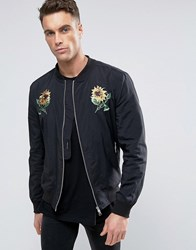 Religion Souvenir Bomber Jacket With Flower Embroidery Black