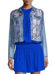 Ramy Brook Gloria Woven Denim Jacket Indigo Combo