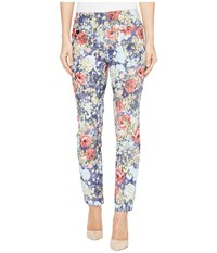 Lisette L Montreal Rose Daisy Jacquard Ankle Pants Palm Beach Blue Women's Casual Pants
