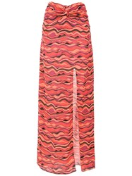Amir Slama Printed Long Skirt Red