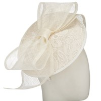 John Lewis Hope Lace Disc Bow Occasion Hat Ivory