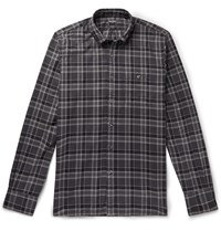 Todd Snyder Button Down Collar Checked Cotton Flannel Shirt Gray