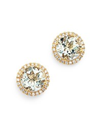 Kiki Mcdonough 18K Yellow Gold Grace Round Green Amethyst And Diamond Earrings Green Gold