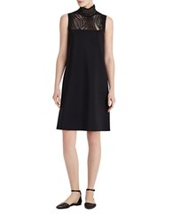Lafayette 148 New York Polished Tech Jersey Laser Cut Dress Black