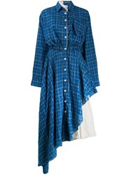 Natasha Zinko Check Asymmetric Shirt Dress Blue