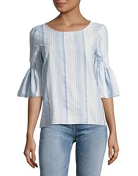 Design Lab Lord And Taylor Bell Sleeves Cotton Blouse Blue