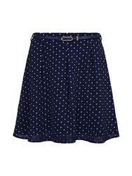 Yumi Anchor Belted Skirt Blue