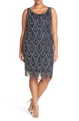 Plus Size Women's Pisarro Nights Beaded Sheath Dress Navy