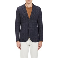 Barneys New York Glen Plaid Deconstructed Two Button Sportcoat Charcoal