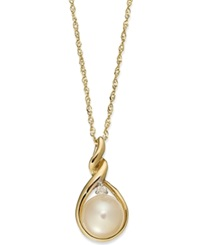 Macy's 14K Gold Necklace Cultured Freshwater Pearl And Diamond Accent Twist Pendant