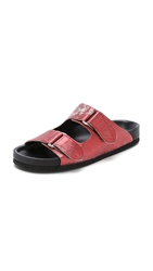 Iro Xancho Footbed Slides Lame Bordeaux