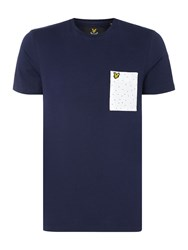 Lyle And Scott Men's Minimal Dot Pocket Crew Neck Short Sleeve T Shirt Navy