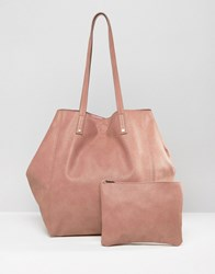 Asos Soft Shopper Bag With Removable Clutch Pink