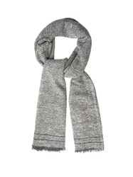 Brunello Cucinelli Fringed Cashmere And Wool Blend Scarf Light Grey