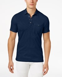 Inc International Concepts Men's Snap Cotton Polo Only At Macy's Navy