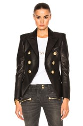 Balmain Double Breasted Leather Blazer In Black