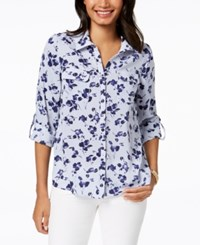Ny Collection Petite Floral Print Roll Tab Sleeve Shirt Blue Floragaze