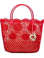 Twin Set Crochet Detail Tote Red