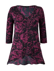 Grace Made In Britain Floral Tunic Top Black