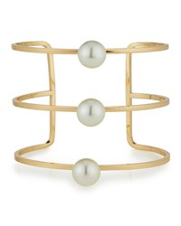 Lydell Nyc Golden Wire Cuff Bracelet W Pearly Accents Women's