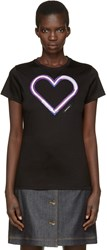 Carven Black Neon Heart T Shirt