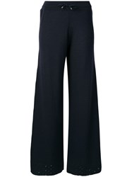 Barrie Knitted Flared Trousers Blue