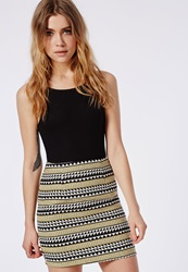 Missguided Woven Aztec Print Mini Skirt Black Black