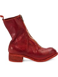 Guidi Front Zip Boots Red