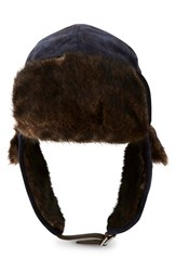 True Religion Men's Brand Jeans Velour Trapper Hat With Faux Fur Trim True Navy