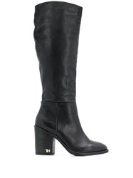Tommy Hilfiger Logo Hardware Calf High Boots Black