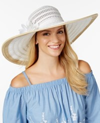 Nine West Packable Floral Sun Hat White