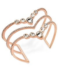 Inc International Concepts I.N.C. Rose Gold Tone Crystal Triple Row Cuff Bracelet Created For Macy's
