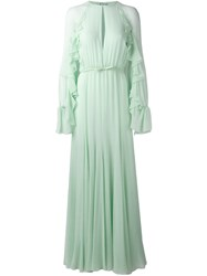 Giambattista Valli Frill Sleeve Gown Women Silk Cotton Viscose 40 Green