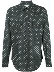 Saint Laurent Star Print Western Shirt Black