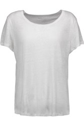 Majestic Split Back Linen Jersey T Shirt White