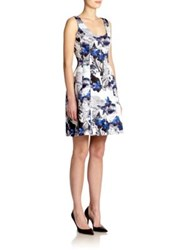 Prabal Gurung Digital Print Satin Dress Navy