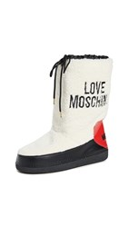 Moschino Shearling Snow Boots Natural Red